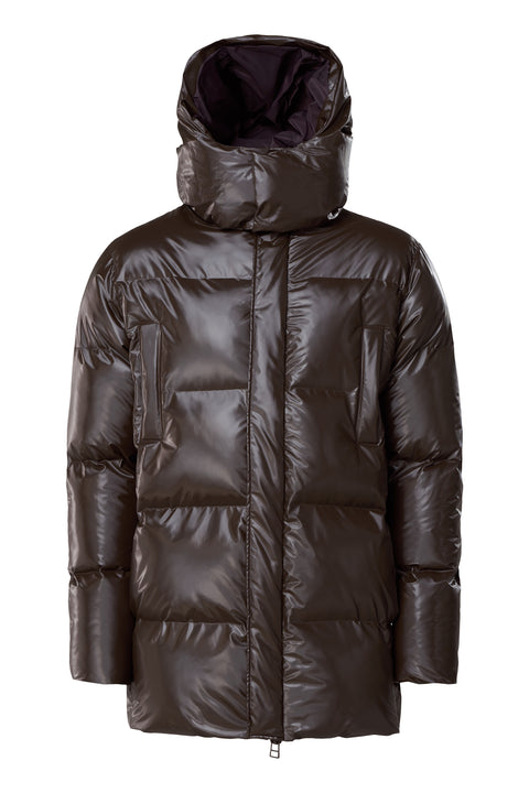 Shiny Brown Puffer Hooded Coat