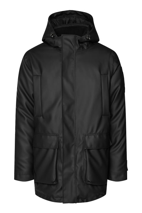 Black Waterproof Box Cut Trendy Coat