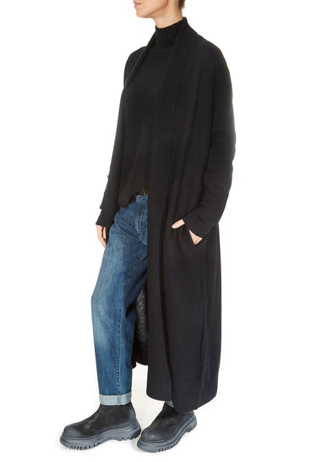 'Teagan' Black Long Cashmere Duster Cardigan