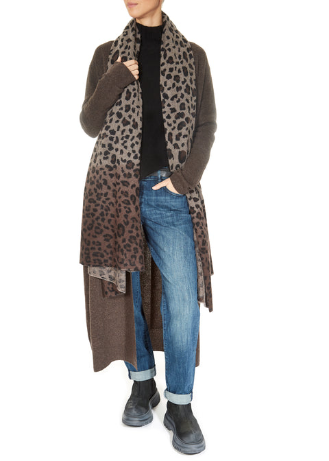 'Teagan' Brown Long Cashmere Duster Cardigan
