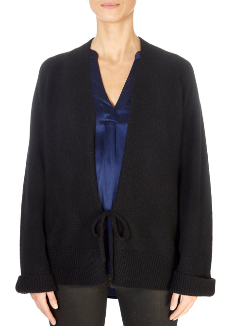 'Dori' Black Ribbed Cardigan With Tie