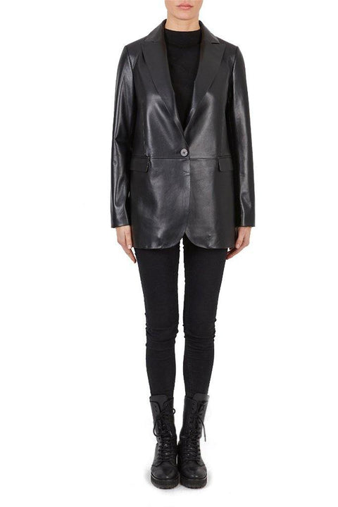 'Judith' Black Leather Blazer