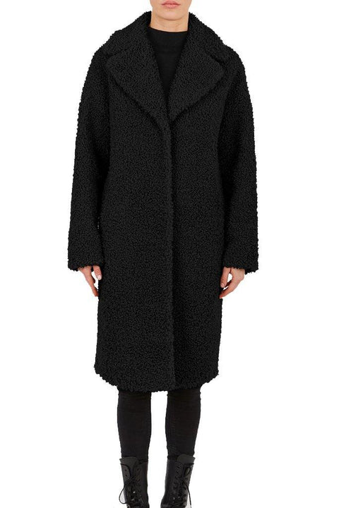 'Emily' Black Faux Fur Coat