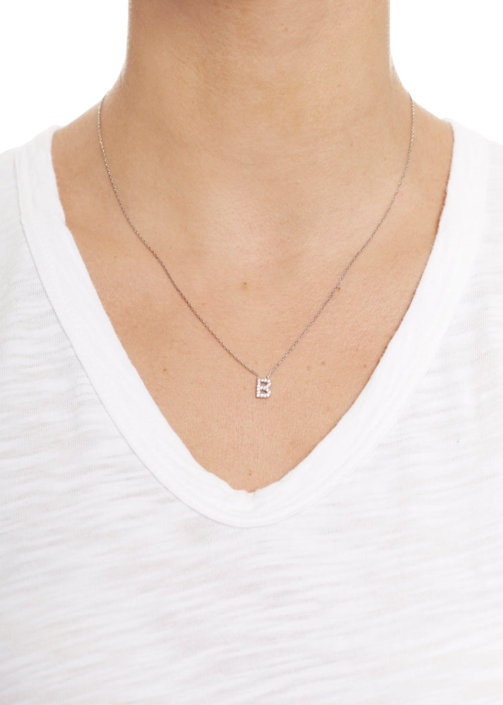 Sterling Silver Letter 'B' Necklace Jm Jewellery - Jessimara
