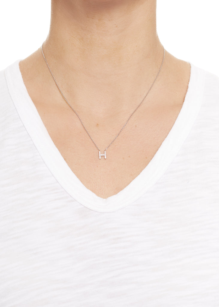 Sterling Silver Letter 'H' Necklace | Jessimara London
