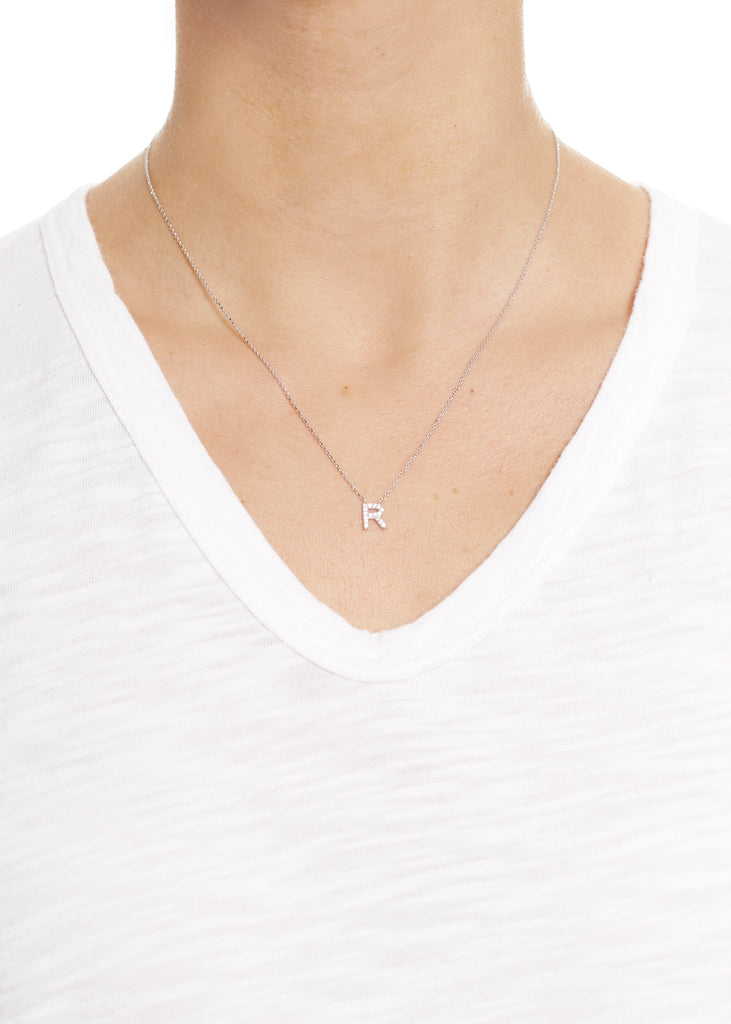 Sterling Silver Letter 'R' Necklace Jm Jewellery - Jessimara