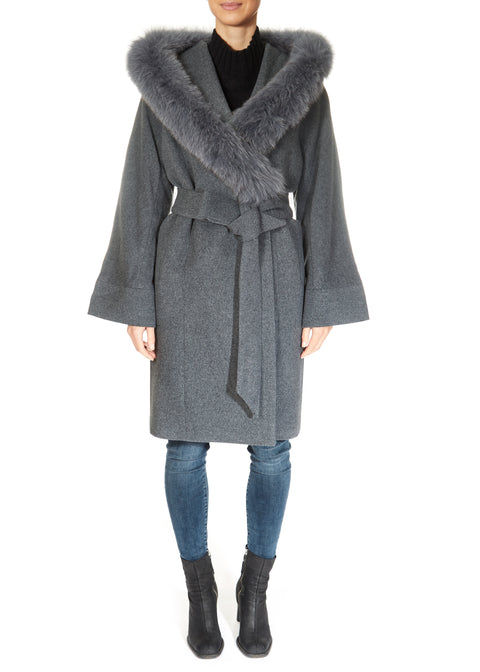 Grey Wool 3/4 Length Fox Trim Coat