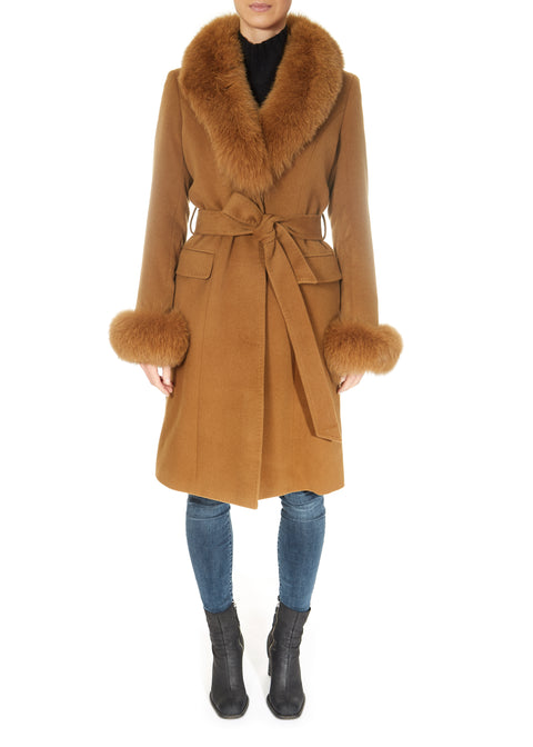 Tan Wool and Cashmere Fox Fur Collar and Cuff Coat