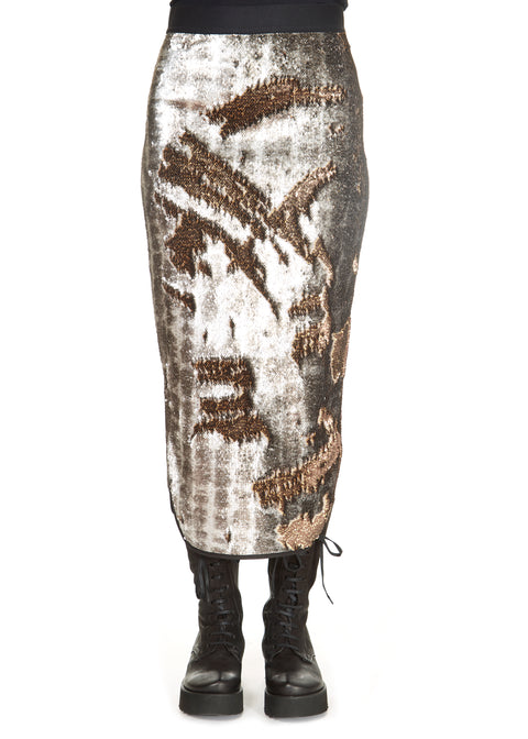 'Gloss' Snake Print Sequin Midi Skirt