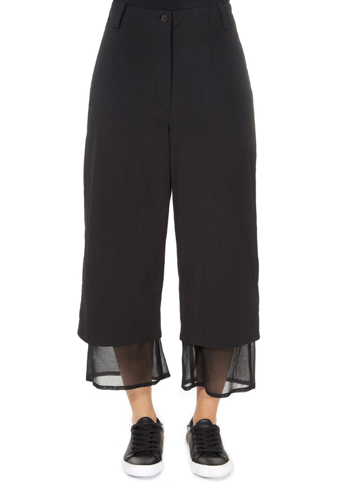 'Even' Cropped Black Chiffon Hem Wide Leg Trousers | Jessimara London