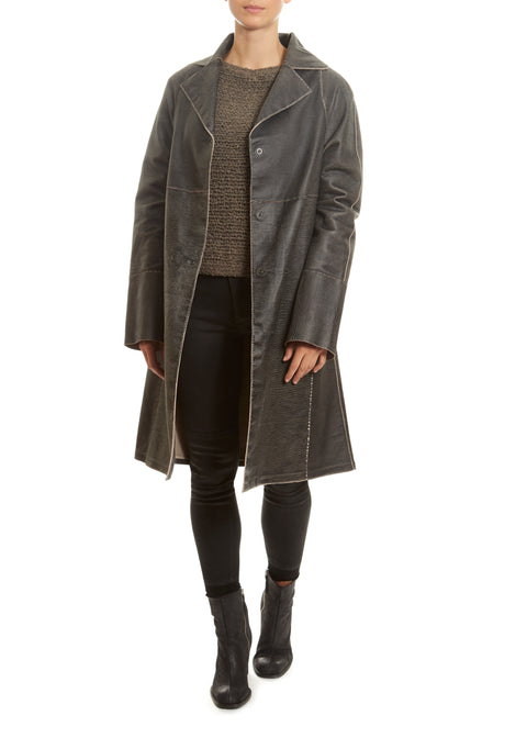 'Gusto' Black Salt Leather Coat | Jessimara London
