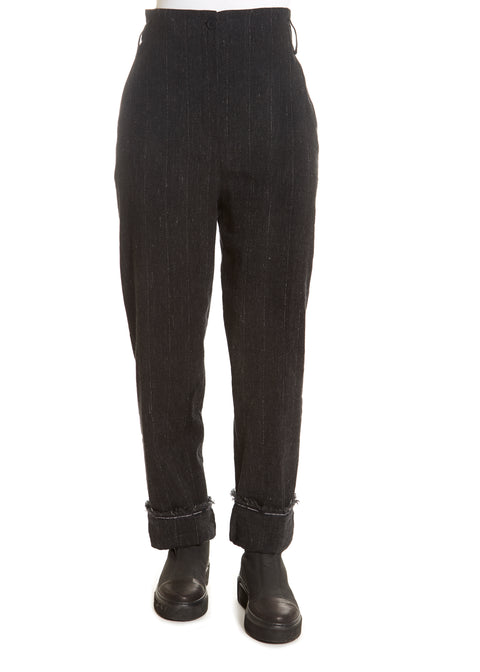 'Ilox' Black Pinstriped Suit Pants | Jessimara London