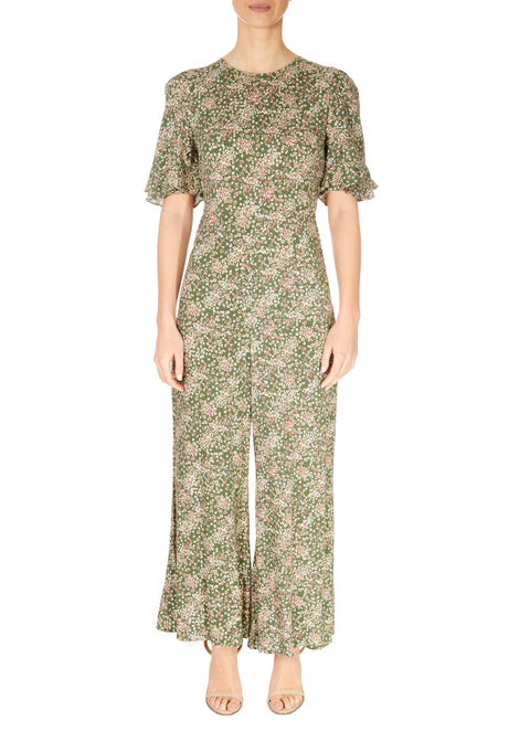 'Gemima' Floral Khaki Green Jumpsuit | Jessimara London