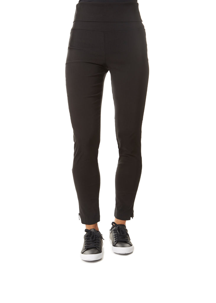 Black Magic Stretch Trousers With Zip | Jessimara London