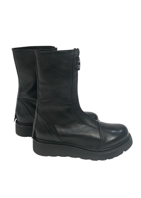 'Funky' Black Leather Zip Up Shiny Boots