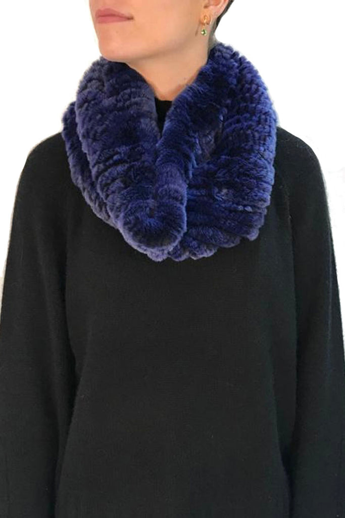 Dark Blue Snowtop Knitted Real Rex Rabbit Fur Single Snood
