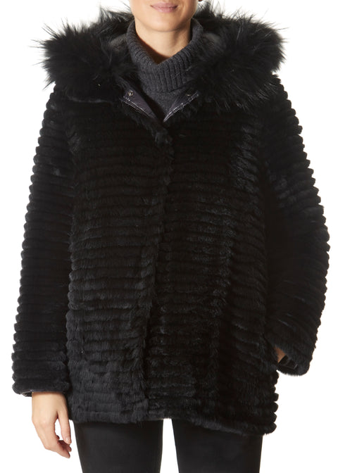 Short Black Rex Rabbit Reversible Puffer | Jessimara London