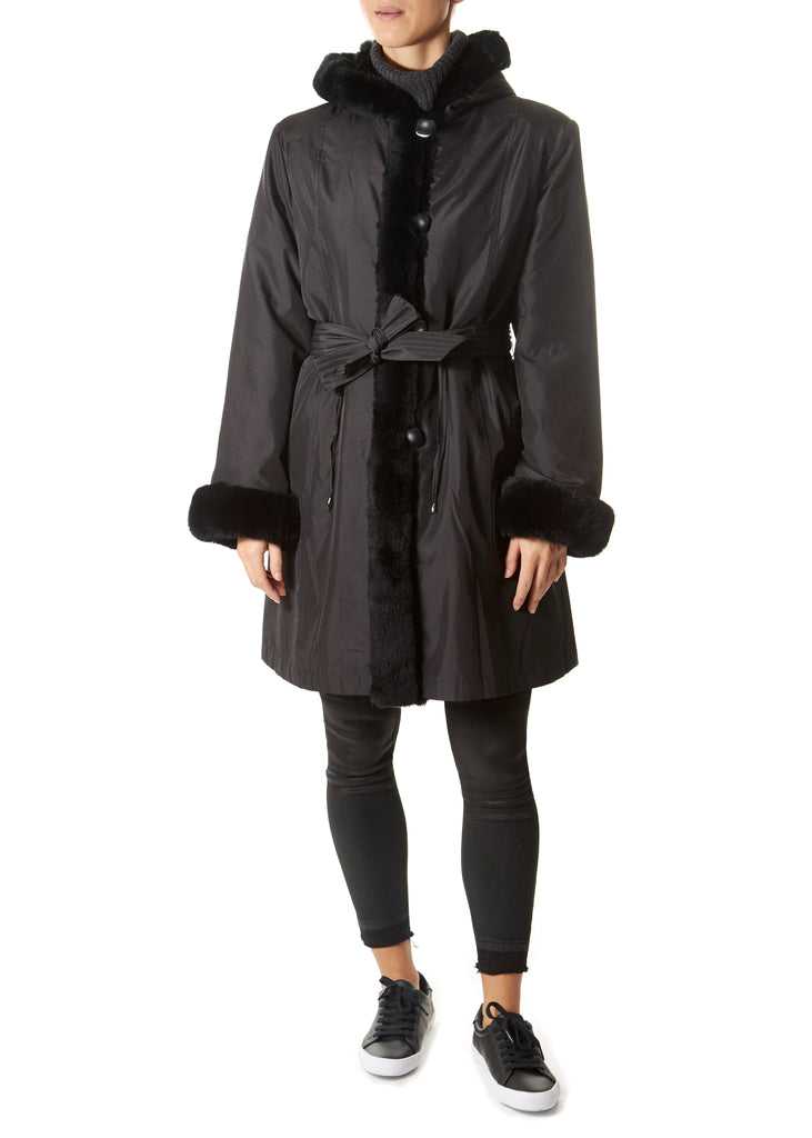Black Drawstring Silk Lazered Reversible Rabbit Coat | Jessimara London