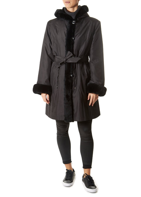 Black Drawstring Silk Lazered Reversible Rabbit Coat - Jessimara