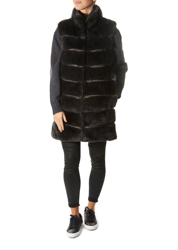Grey Real Rex Rabbit Fur Gilet