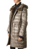 Long Khaki Reversible Fur Puffer Coat