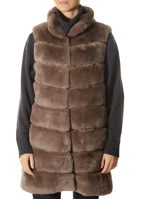 Taupe Real Rex Rabbit Fur Gilet | Jessimara London