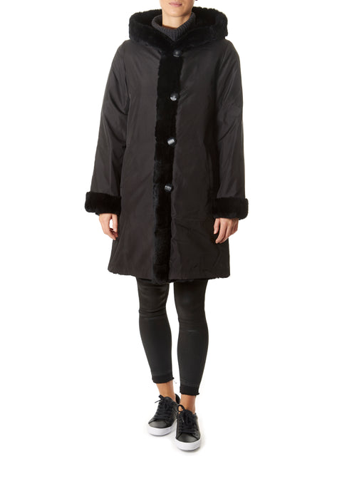 Solid Rex Rabbit Fur and Silk Black Coat | Jessimara London