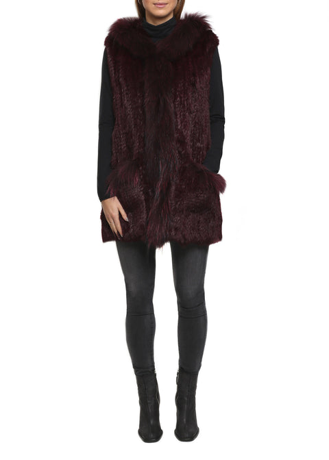 Burgundy Rabbit Fur With Raccoon Trim Gilet | Jessimara London