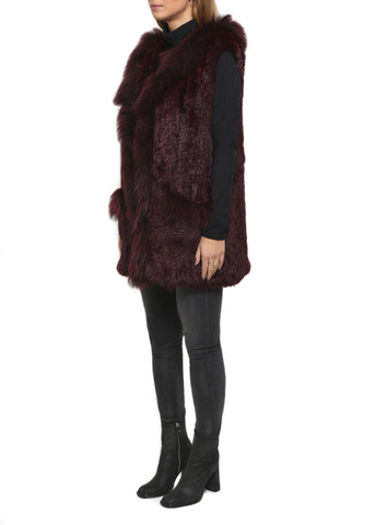 Burgundy Rabbit Fur Gilet Mid Thigh Length Raccon Trimmed by Jessimara