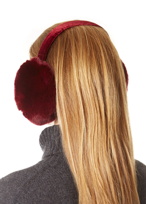 Burgundy Rabbit Ear Muffs | Jessimara London