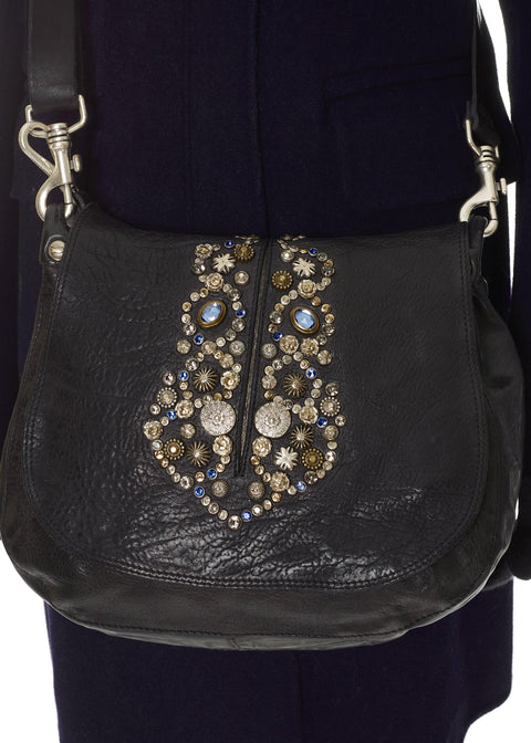 'Bella di Notte' Big Black Leather Crossbody Bag