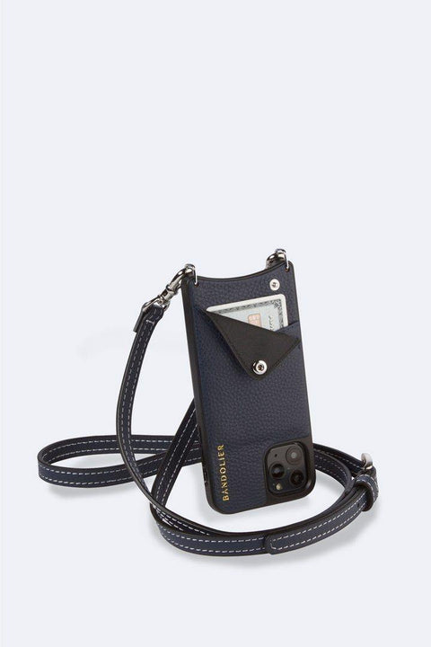 'Casey' Navy/Silver Pebble Leather Crossbody Bandolier | Jessimara London