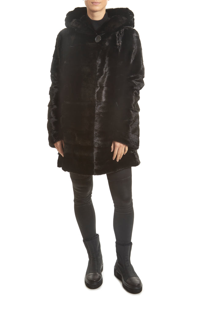 Black Hooded Mink Coat | Jessimara London
