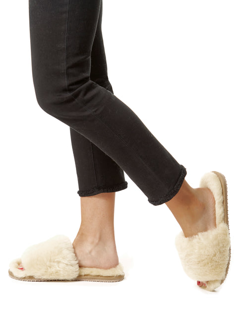 Deep Classic Cream Luxury Sheepskin Slides