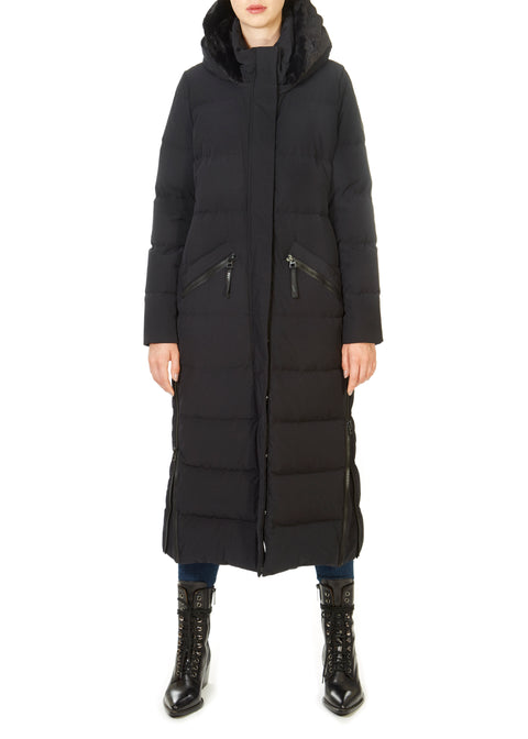 'Katy' Long Black Puffer Coat | Jessimara London