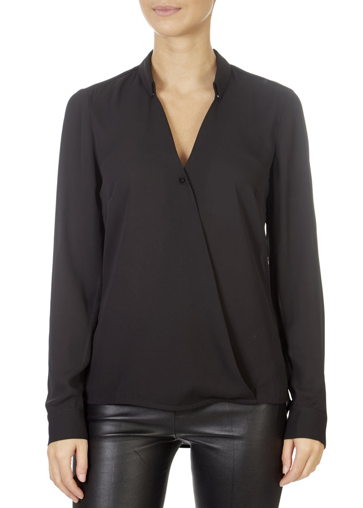 'Mendo' Black V-Neck Blouse | Jessimara London