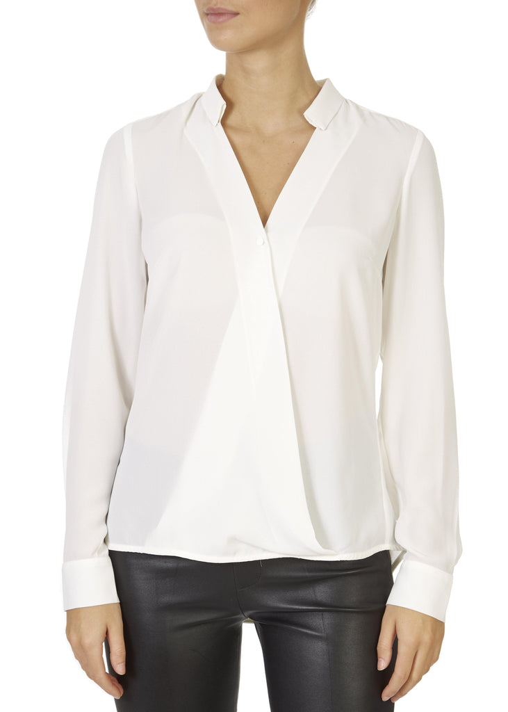'Mendo' White V-Neck Blouse | Jessimara London