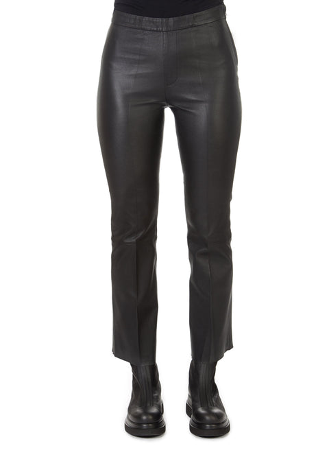 'Tyson' Crop Flare Leather Trousers | Jessimara London