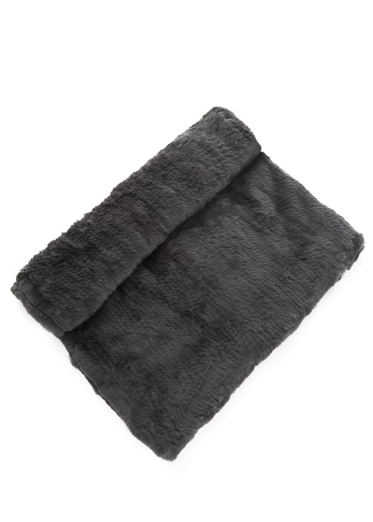 Real Rex Rabbit Fur Dark Grey Fur Blanket | Jessimara London