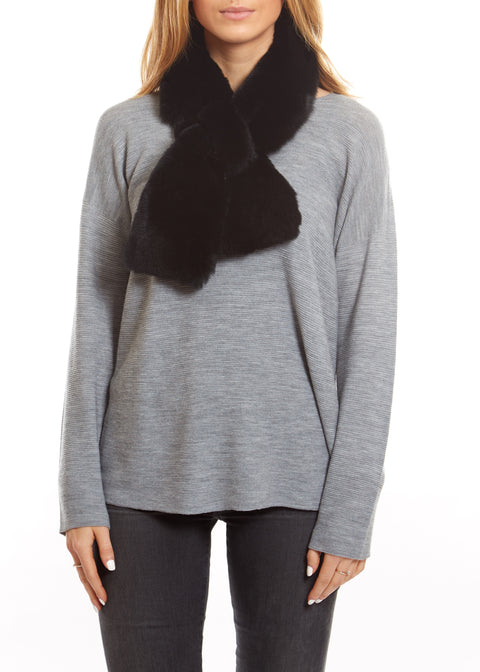 Black Fox and Rabbit Luxury Fur Scarf | Jessimara London
