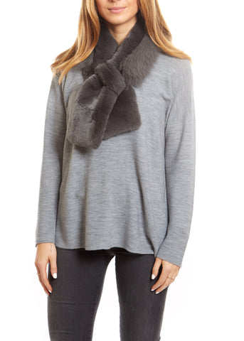 Jessimara Grey Fox and Rabbit Fur Scarf