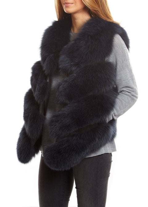 Navy Short Fox Fur Gilet London