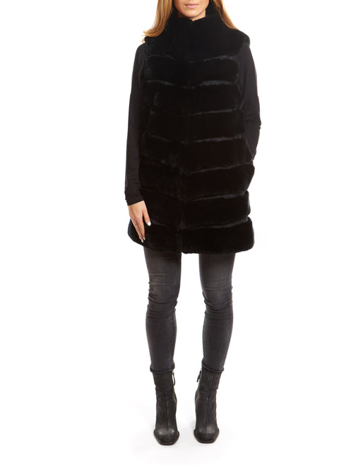 Black Long Real Rex Rabbit Fur Gilet | Jessimara London