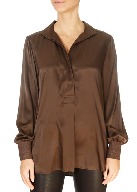 'Kate' Mocca Silk Blouse | Jessimara London