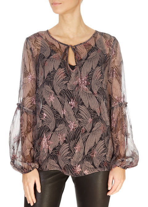 'Leah' Gold Wings Sheer Purple Shirt