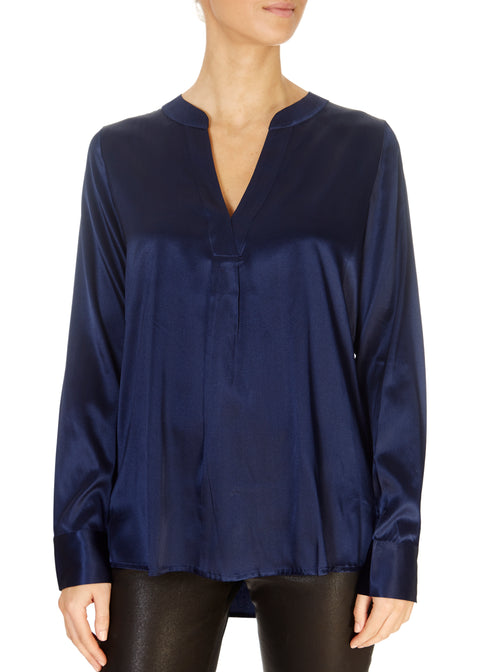 'Santena' Navy Silk Blouse