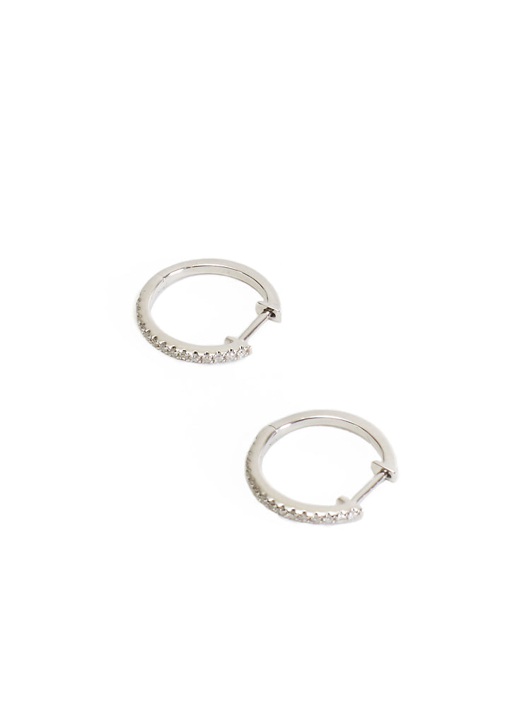 White 18K Gold Diamond Studded 15mm Hoop Earrings | Jessimara London