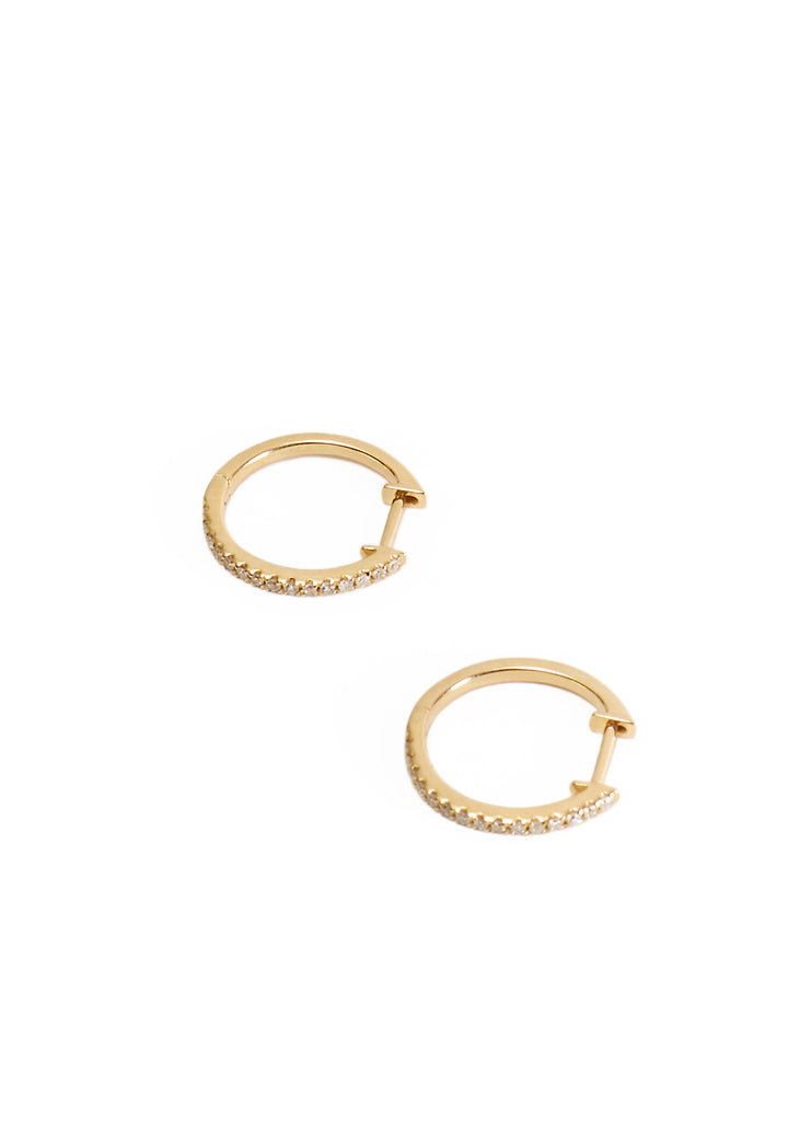 Yellow 18K Gold Diamond Studded 15mm Hoop Earrings Jessimara - Jessimara