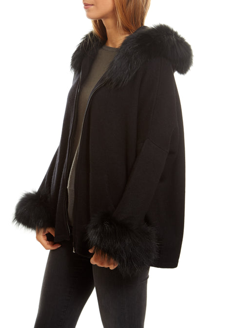 Black Swing Cardigan With Fur Trim | Jessimara London