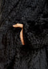 Black Knitted Real Rex Rabbit Fur Fluted Hoodie | Jessimara London